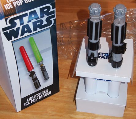 star wars lightsaber ice pop maker opened thinkgeek
